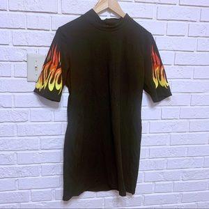 ASOS Bodycon Flame Print Dress